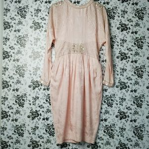 Vintage D'ore baby pink silk beaded backless dress
